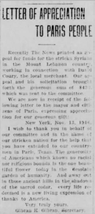 "[Gibran's] Letter of appreciation to Paris People, ""The Paris Morning News"" (Paris, Texas), Sat, Nov 18, 1916"