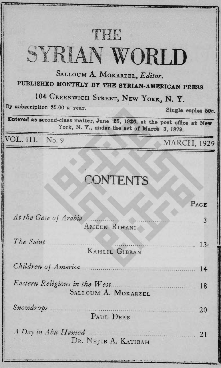 The Saint, The Syrian World, 3, 9, March 1929