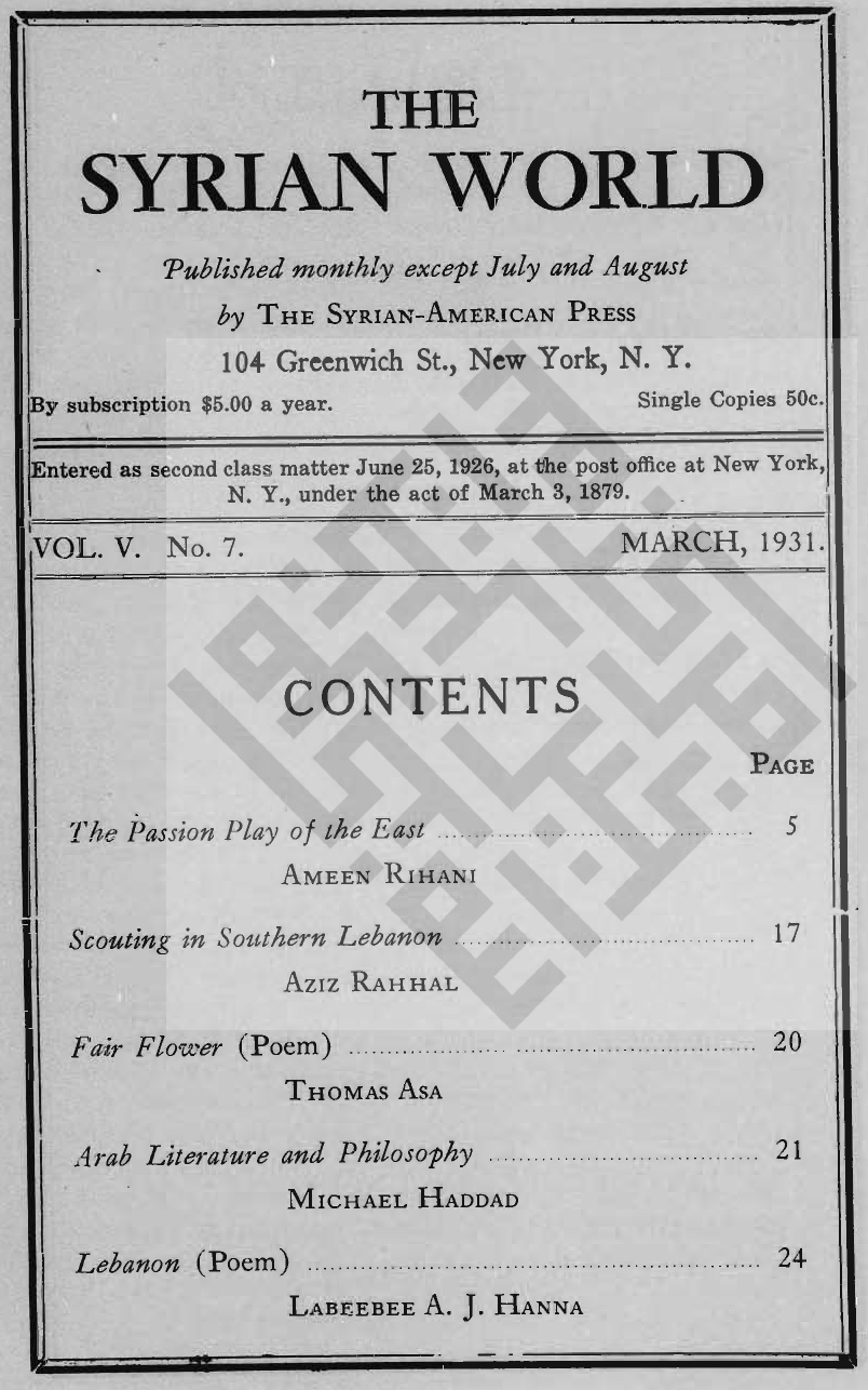 Speech and Silence, The Syrian World, 5, 7, March 1931
