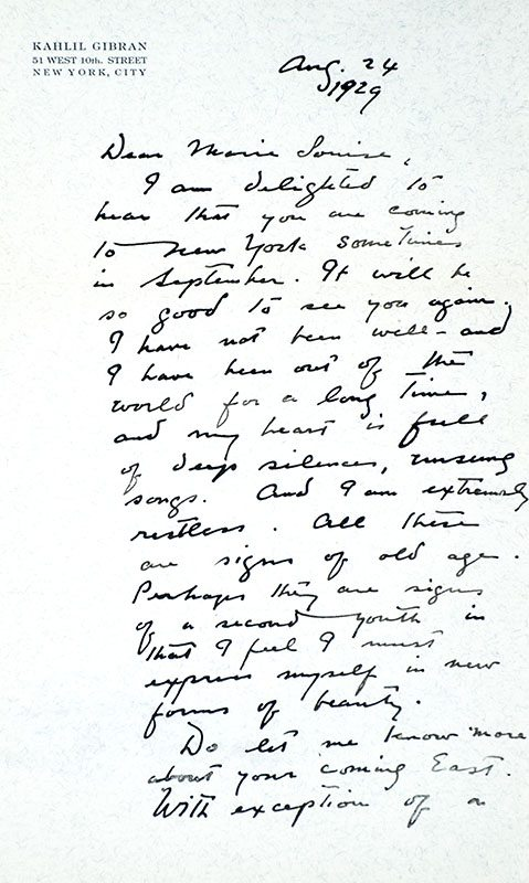 Letter of Kahlil Gibran to Marie Louise Watters, New York, Aug. 24, 1929