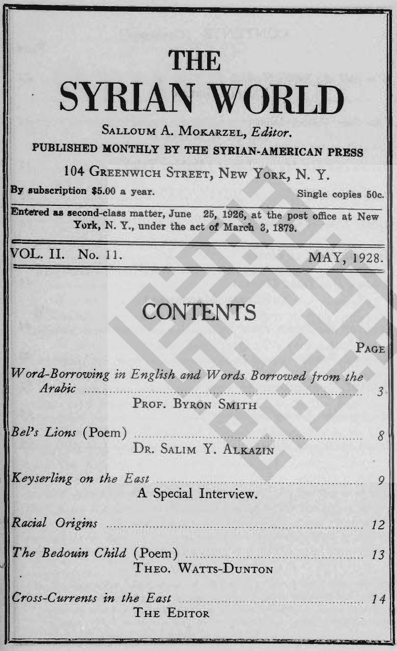 War and the Small Nations, The Syrian World, 2, 11, May 1928