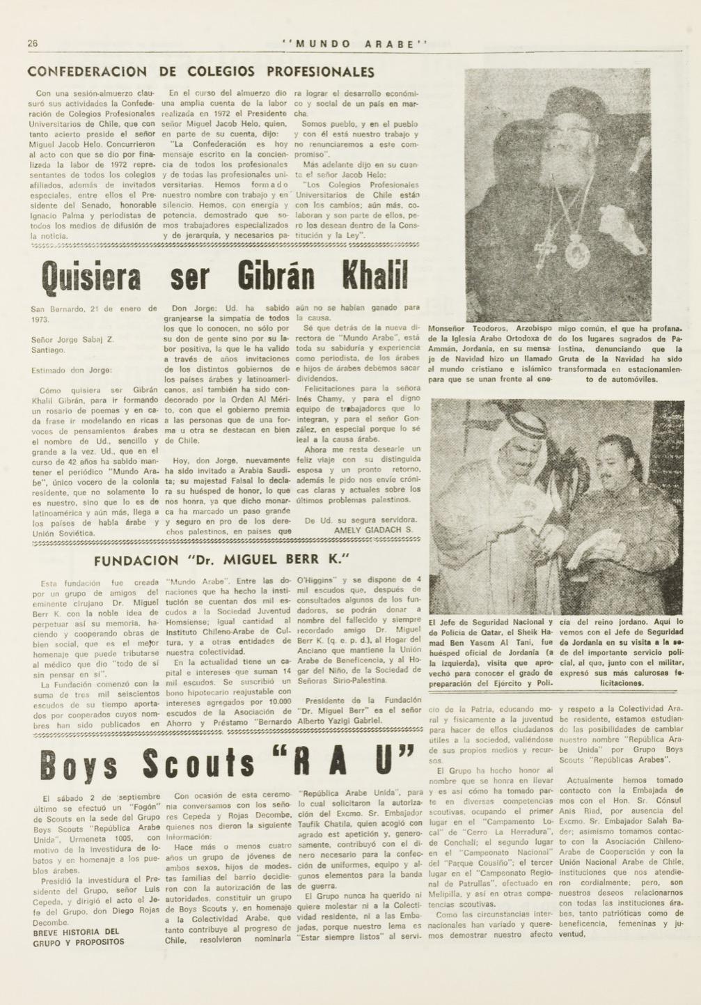 "Amely Giadach, ""Quisiera ser Gibrán Khalil"", Mundo Árabe, Jan 1, 1973, p. 26."