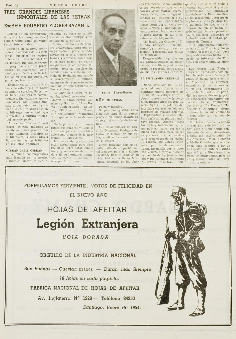 """Eduardo Flores-Bazan, """"Tres grandes Libaneses inmortales de las letras"""", Mundo Árabe, Jan 8, 1954, p. 26."""