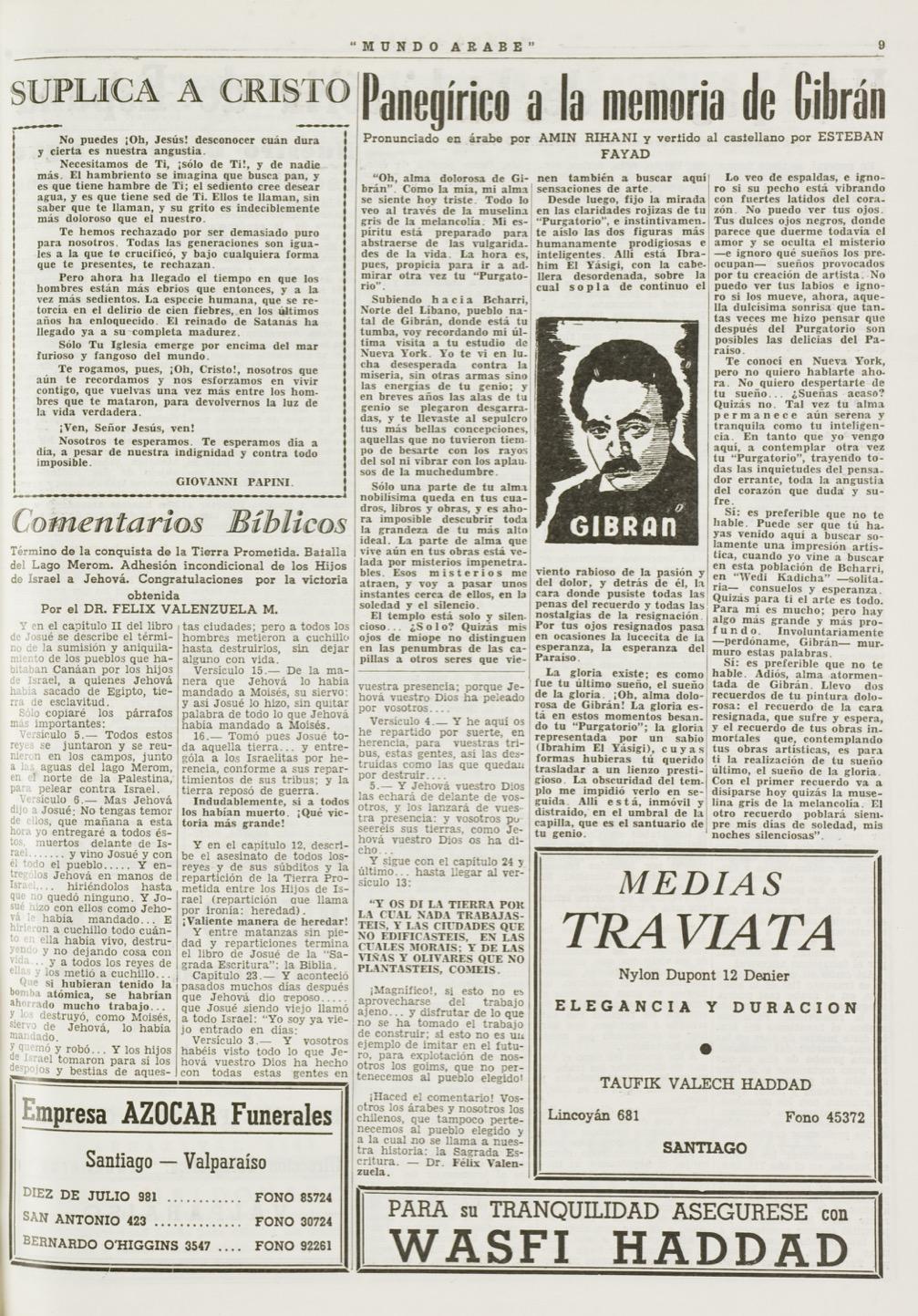 """Esteban Fayad, """"Panegirico a la memoria de Gibran"""", Mundo Árabe, Jun 14, 1957, p. 9."""