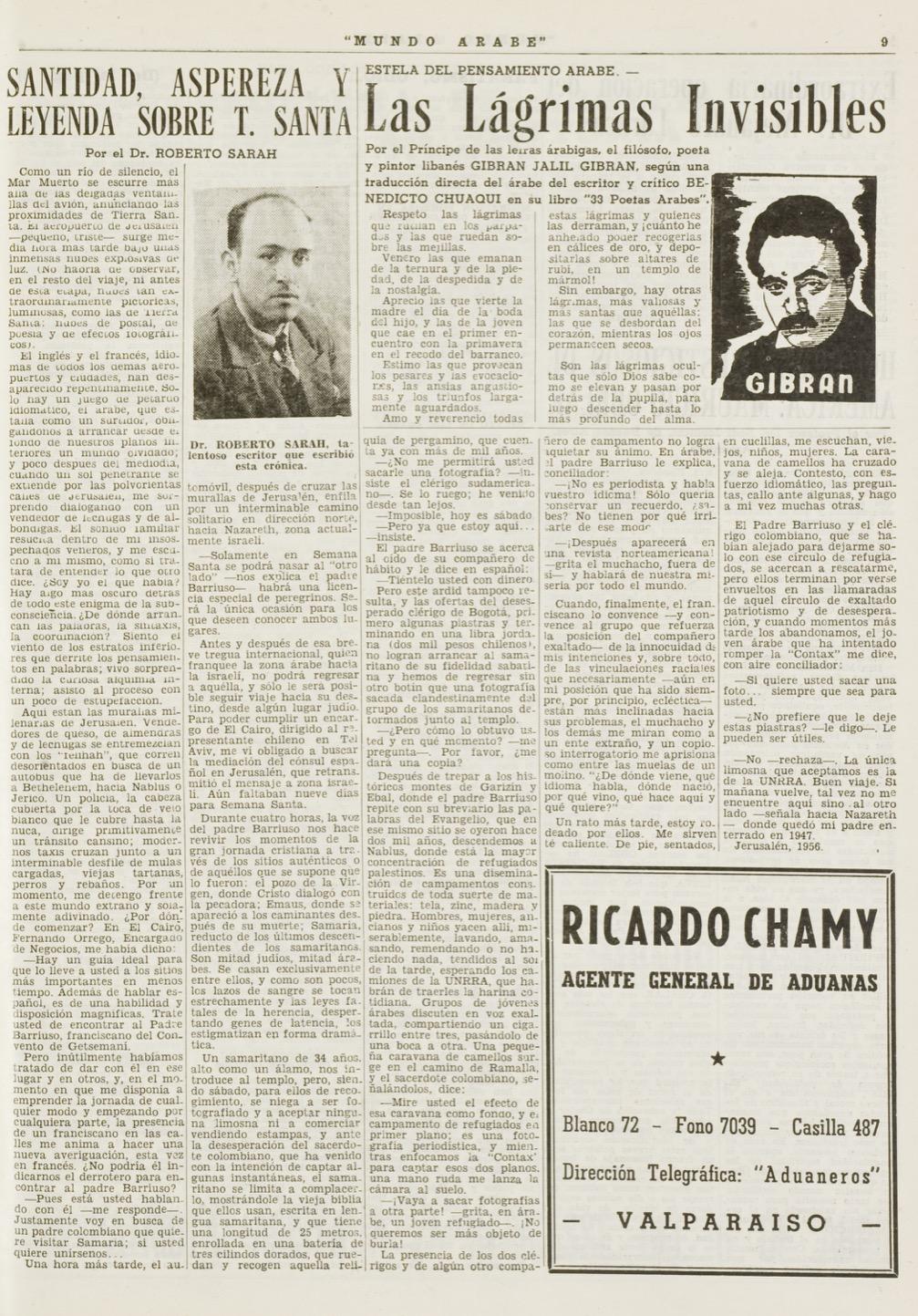 """Benedicto Chuaqui, """"Gibran Jalil Gibran: Las lagrimas invisibles"""", Mundo Árabe, Mar 29, 1957, p. 9."""