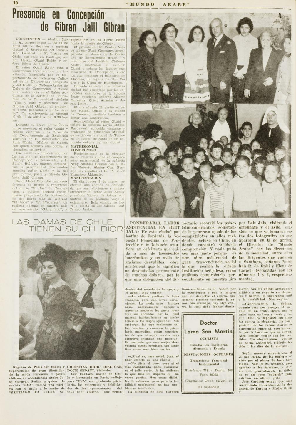 """Judith Itaim, """"Presencia en Concepción de Gibran Jalil Gibran"""", Mundo Árabe, May 15, 1962, p. 10."""