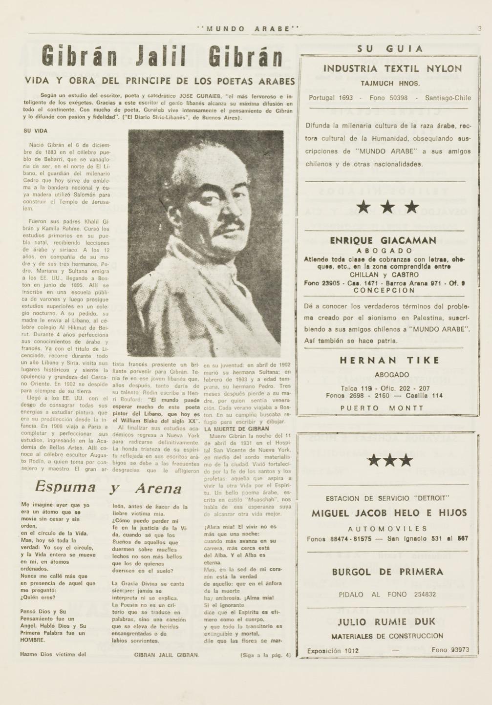 """""""Gibrán Jalil Gibrán: vida y obra del principe de los poetas arabes"""", Mundo Árabe, Nov 15, 1972, pp. 3-4."""