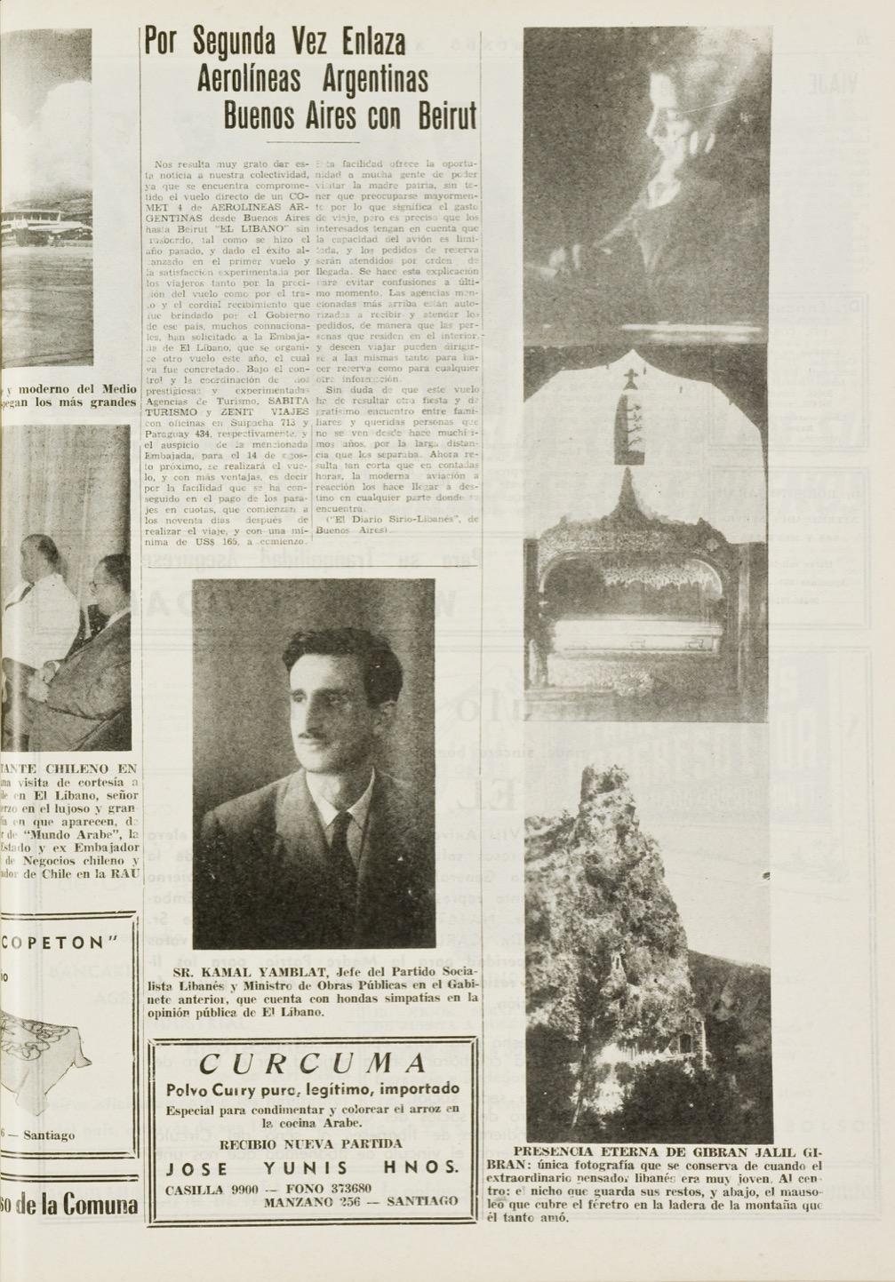 """""""Gibran Jalil Gibran: Nicho de los restos del pensador Libanés"""", Mundo Árabe, Nov 30, 1961, p. 19."""