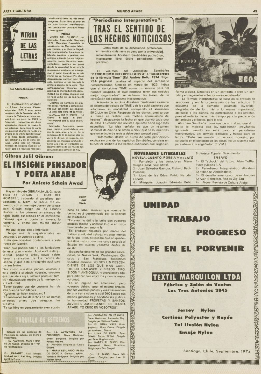 "Aniceto Schain Awad, ""Gibran Jalil Gibran: el insigne pensador y poeta arabe"", Mundo Árabe, Oct 1, 1974, p. 49."