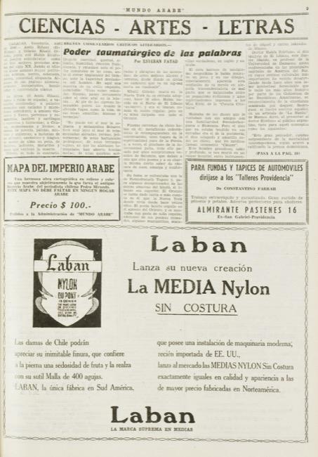 """Esteban Fayad, """"Poder taumatúrgico de las palabras"""", Mundo Árabe, Aug 19, 1949, p. 9."""
