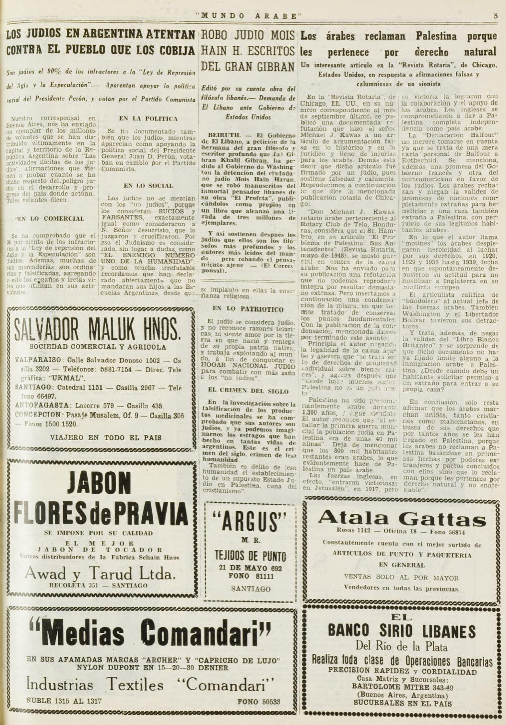 """""""Robo judio Mois Hain Harun escritos del gran Gibrán Khalil Gibrán"""", Mundo Árabe, Feb 25, 1949, p. 5."""