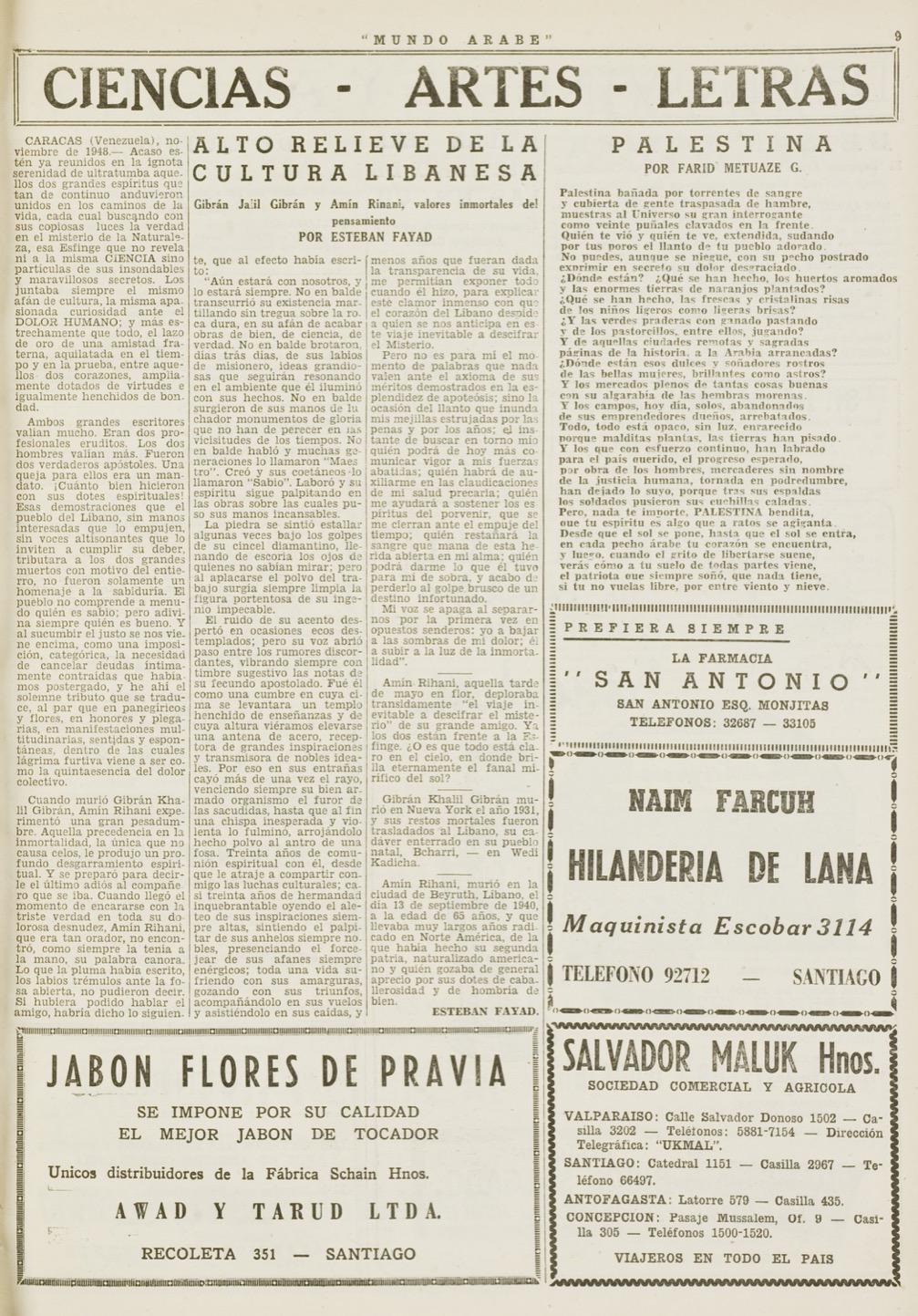 """Esteban Fayad, """"Alto relieve de la cultura libanasa: Gibrán Jalil Gibrán y Amin Rihani, valores inmortales del pensamiento"""", Mundo Árabe, Jan 20, 1950, p. 9."""