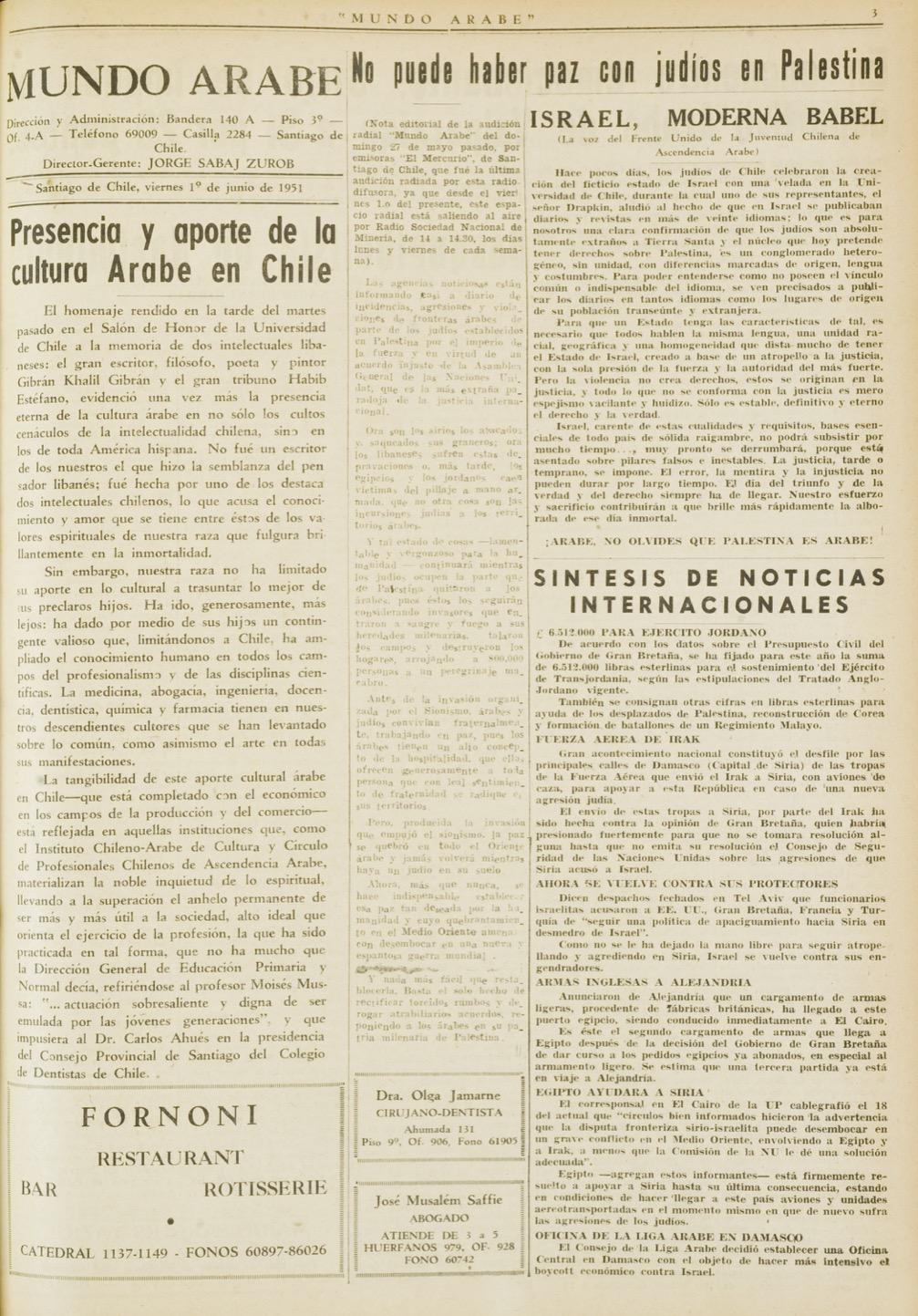 """""""Presentia y aporte de la cultura Arabe en Chile"""", Mundo Árabe, Jun 1, 1951, p. 3."""