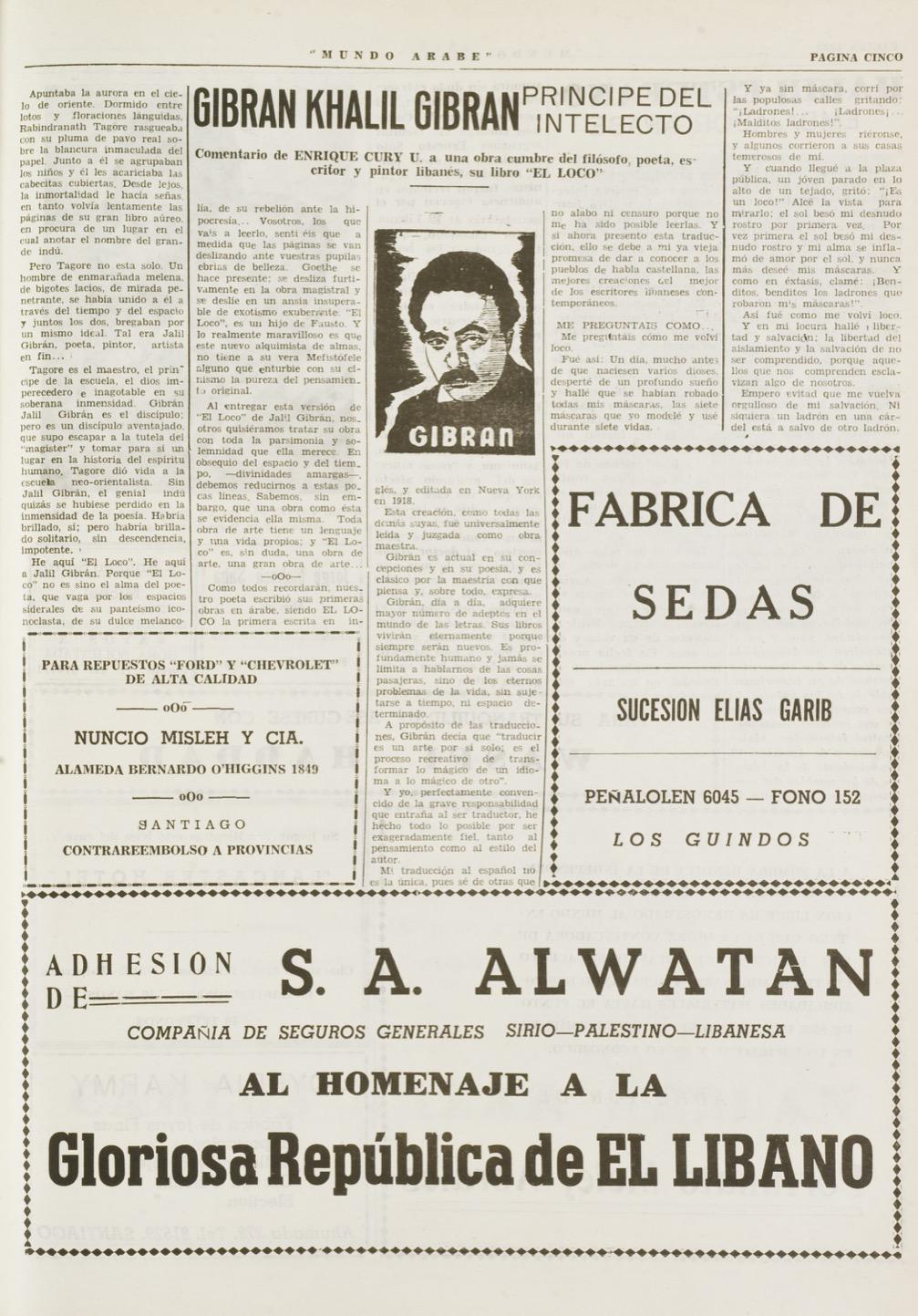 """Enrique Cury U., """"Gibran Khalil Gibran, Principe del Intelecto"""", Mundo Árabe, Nov 22, 1954, p. 5."""