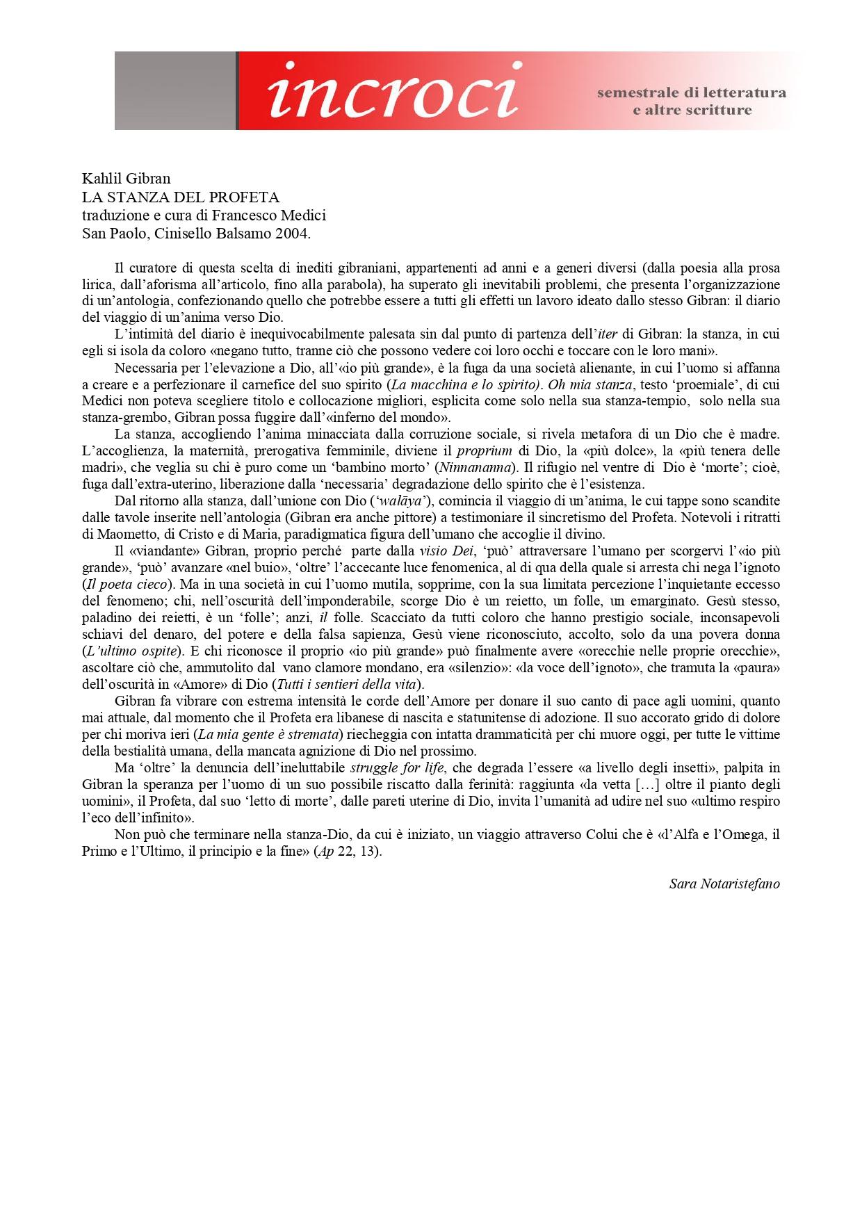 """Sara Notaristefano, """"La stanza del profeta di Kahlil Gibran"""", «incroci», 11, Jul-Dec 2005"""