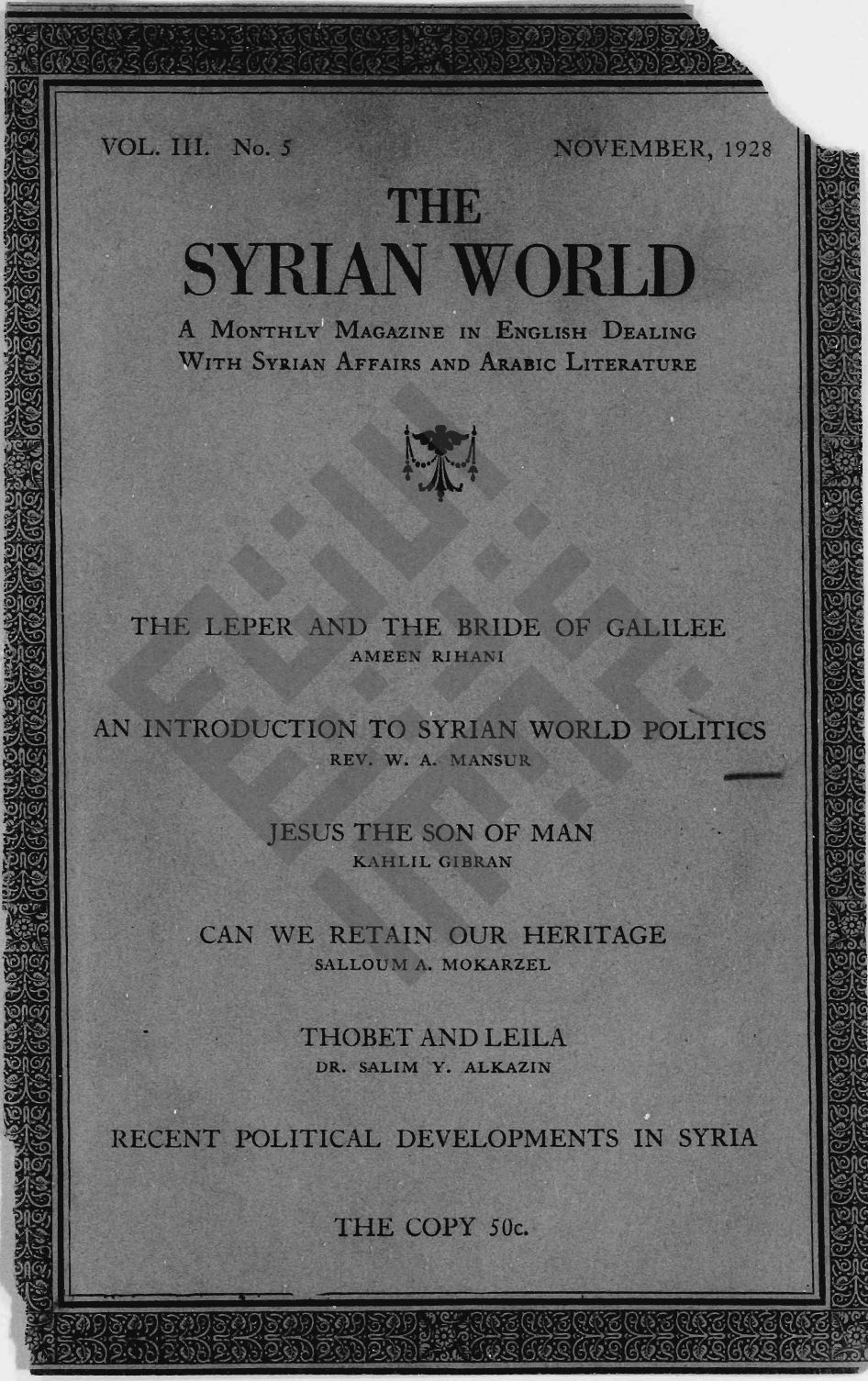 A Man from Lebanon Nineteen Centuries Afterward, The Syrian World, 3, 5, November 1928, 21–26