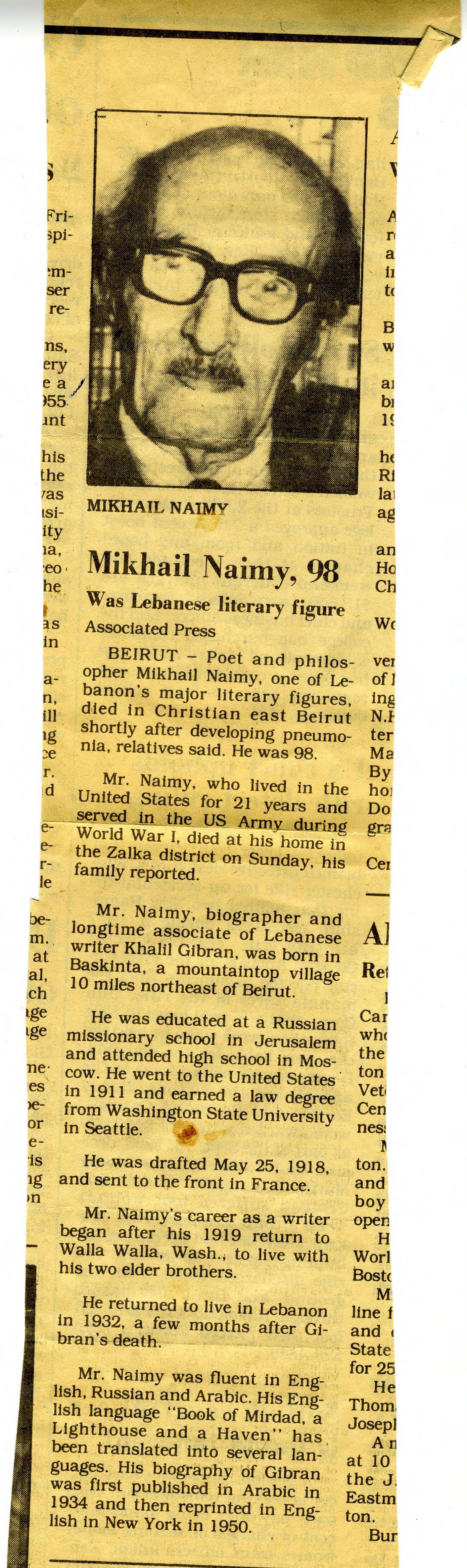 Associated Press, Obituary - Mikhail Naimy, Unknown Newspaper, February 1988.