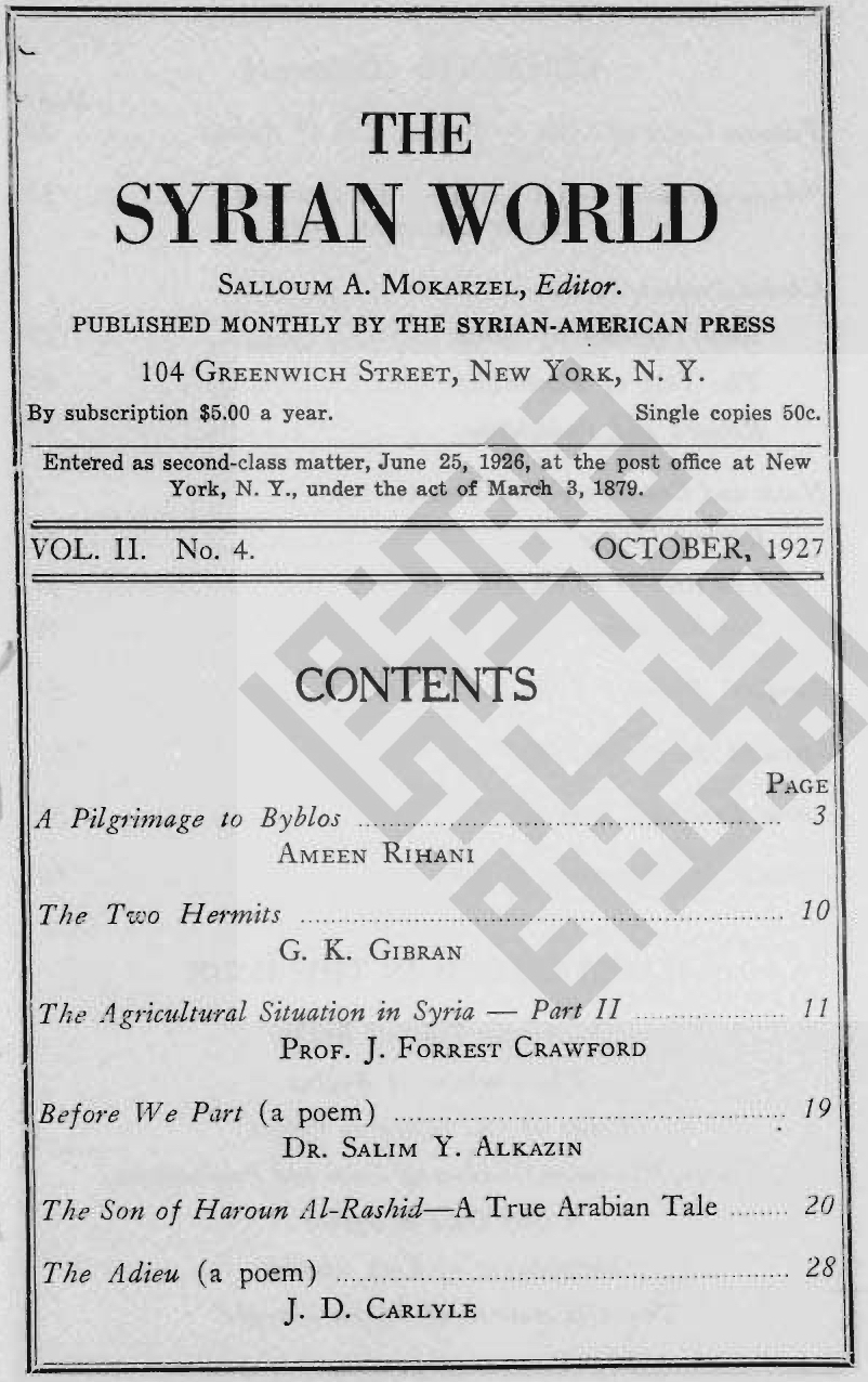 The Two Hermits, The Syrian World, 2, 4, October 1927
