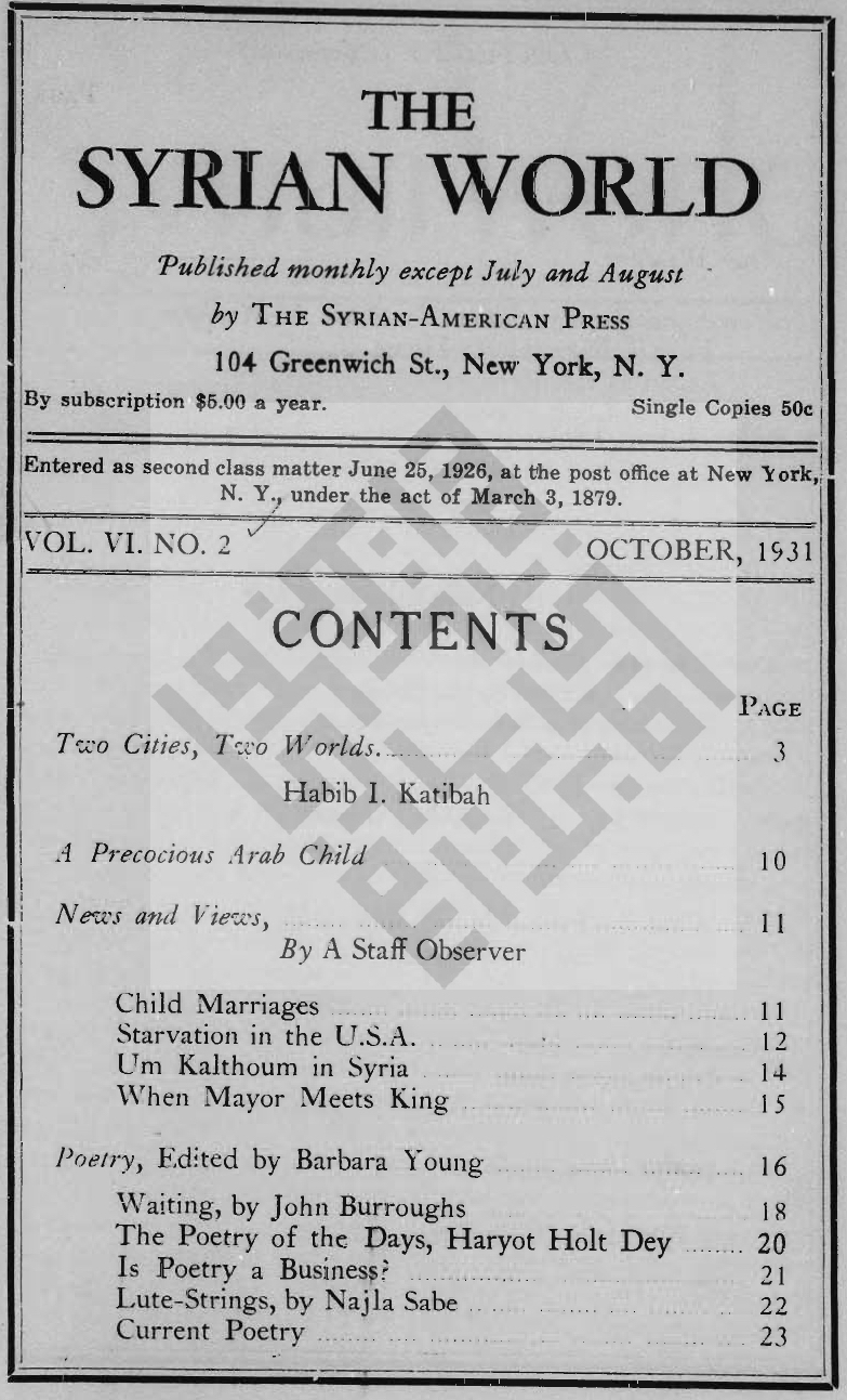 Reflections on Love, The Syrian World, 6, 2, October 1931