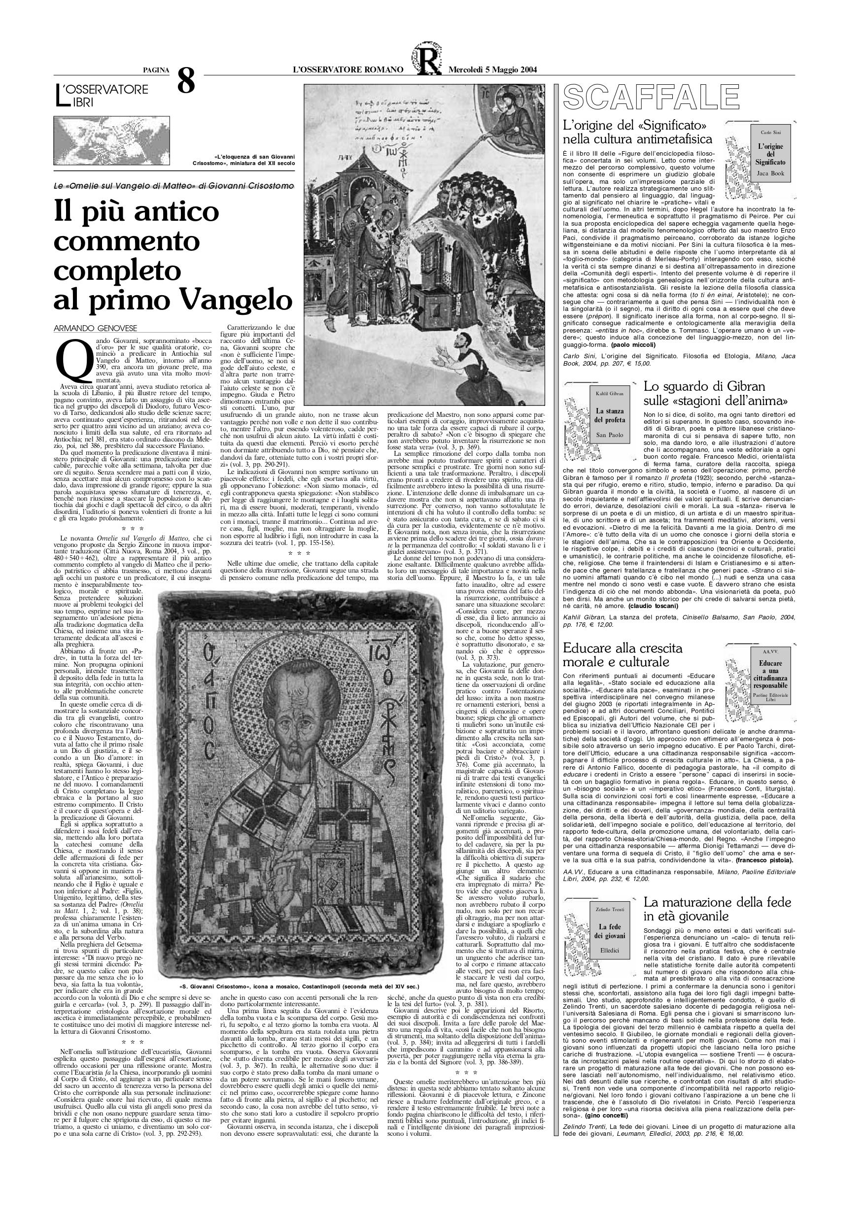 """Claudio Toscani, Lo sguardo di Gibran sulle «stagioni dell'anima», """"L'Osservatore Romano"""", May 5, 2004, p. 8 (review)"""