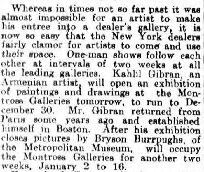 """""""Kahlil Gibran, an Armenian Artist"""", Philadelphia Inquirer 1914"""