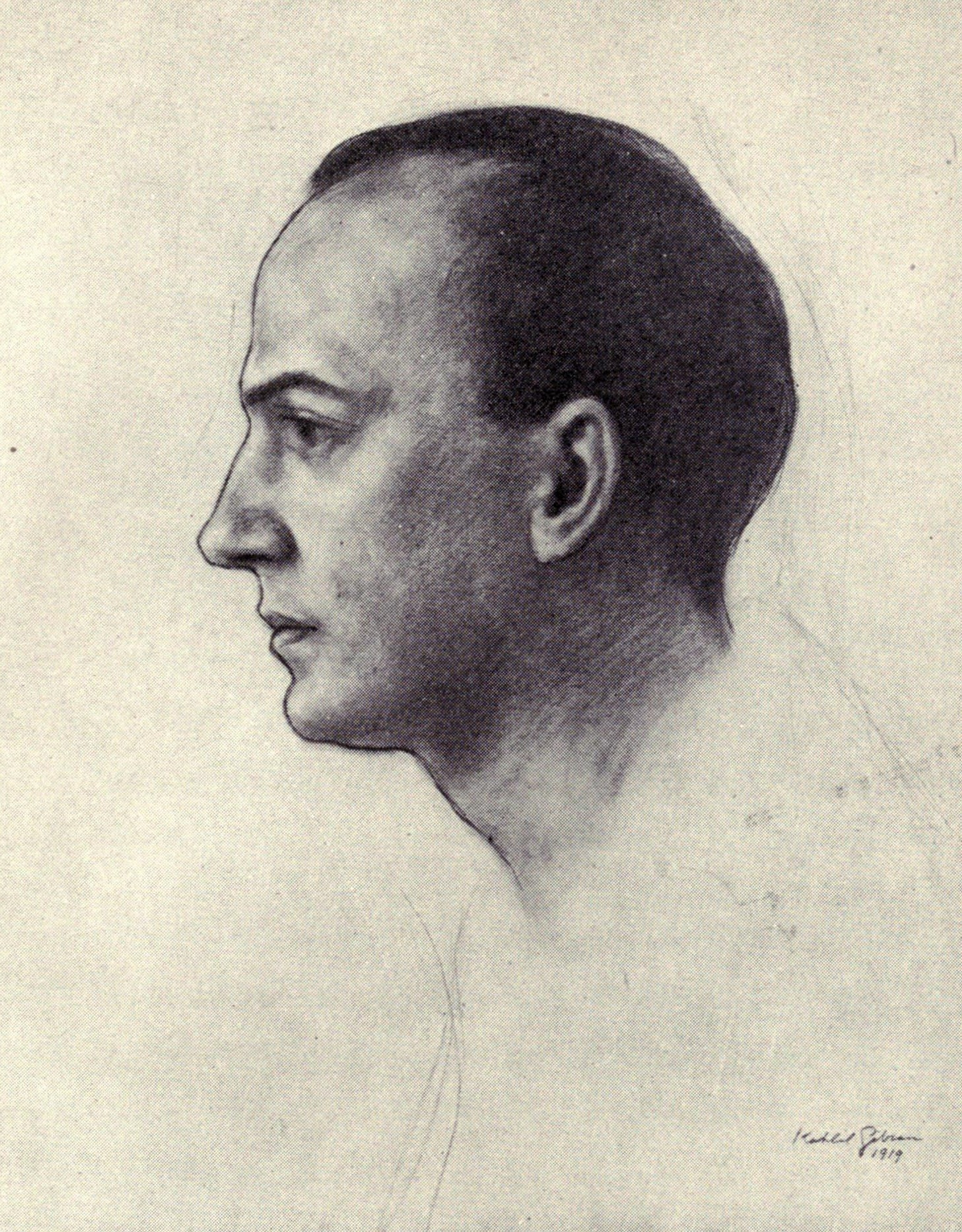 Witter Bynner, The New World, New York: Knopf, 1922 [Frontispiece portrait of the Author by Kahlil Gibran, 1919].
