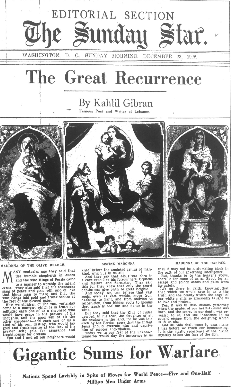 The Great Recurrence, New York Herald Tribune Magazine (The Sunday Star), Dec. 23, 1928, p. 19.