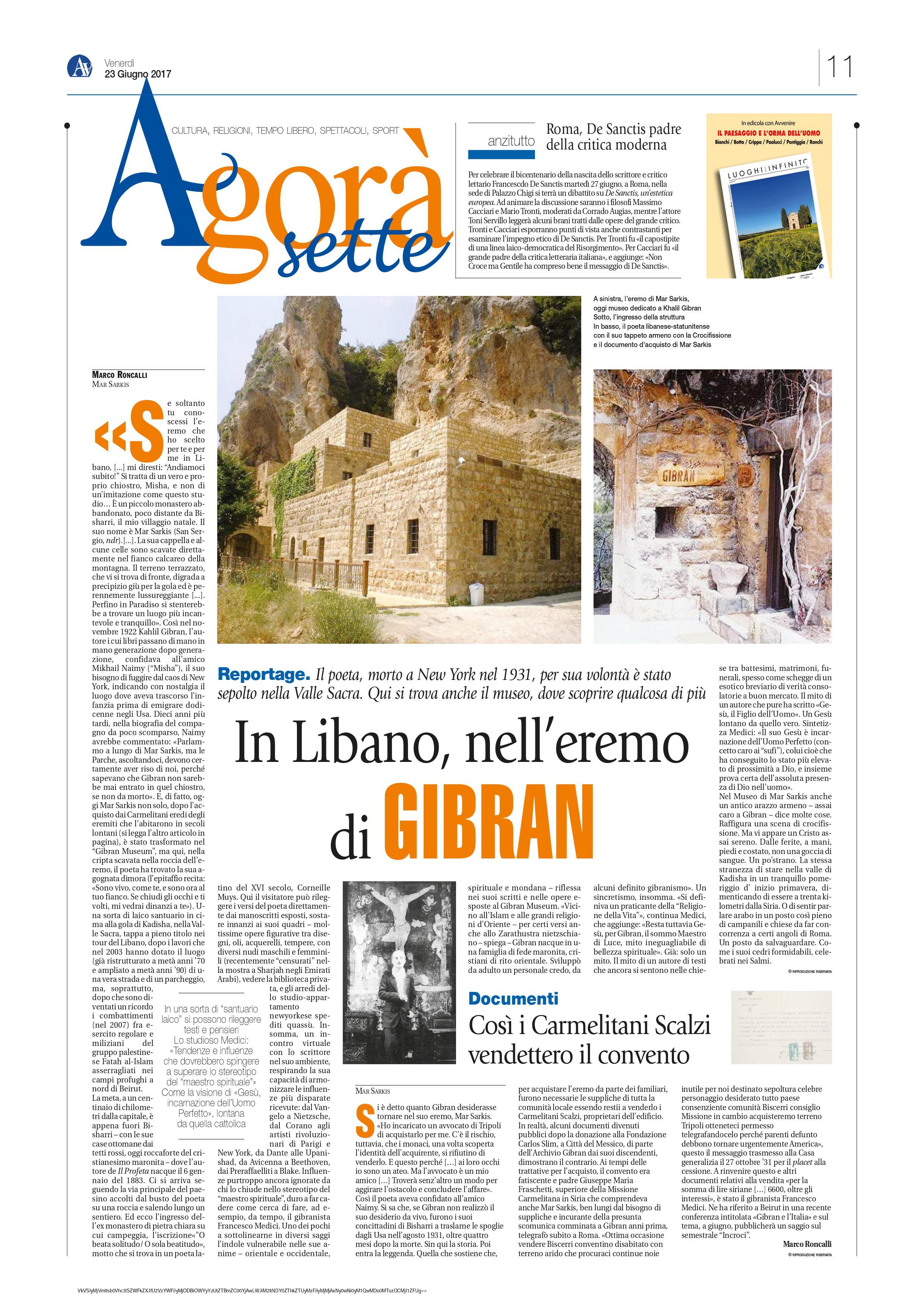 """Marco Roncalli, """"In Libano, nell'eremo di Gibran"""", Jun 23, 2017, p. 11."""