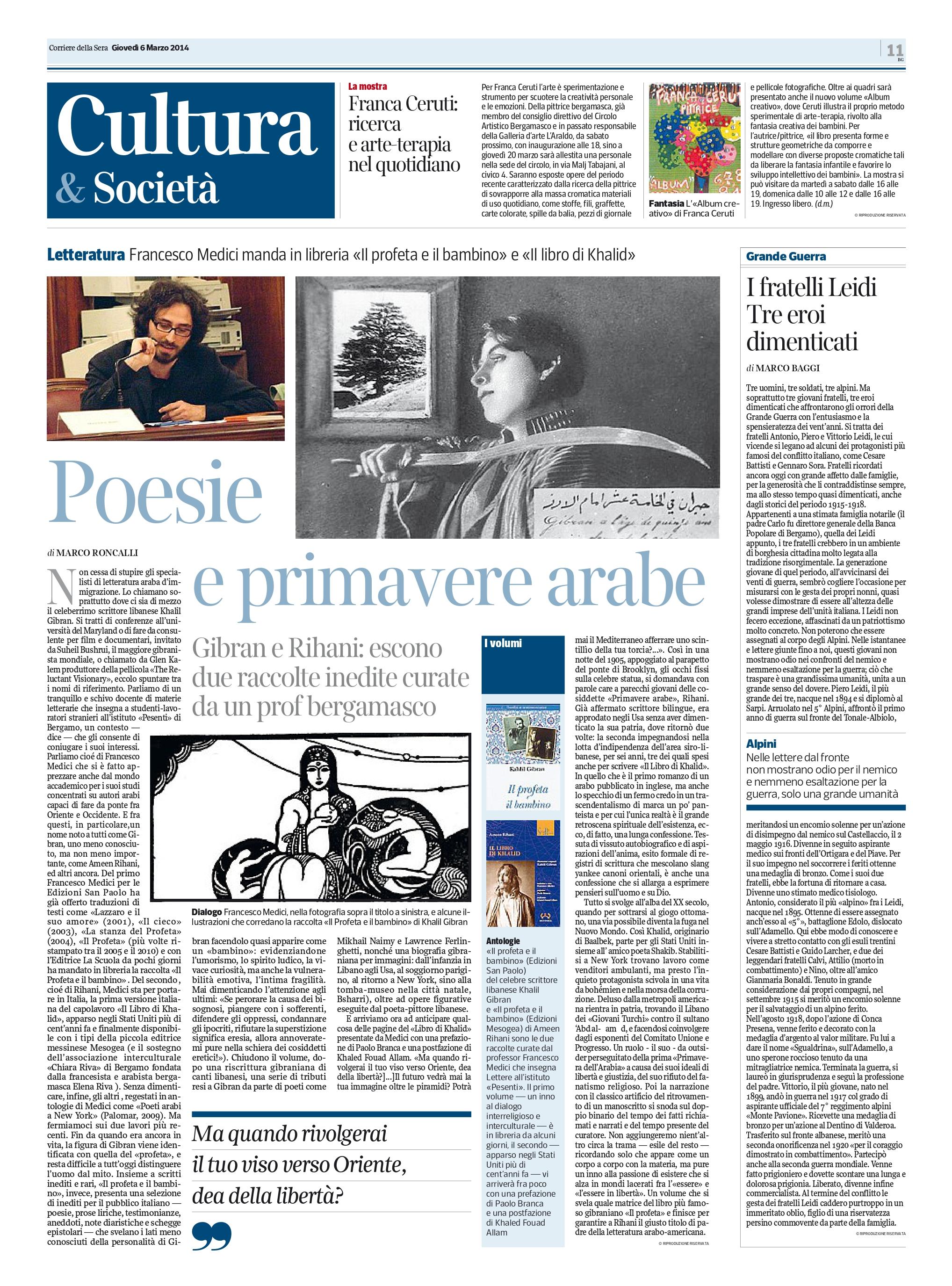 """Marco Roncalli, """"Poesie e primavere arabe"""", Corriere della Sera, Mar 6, 2014, p. 11"""