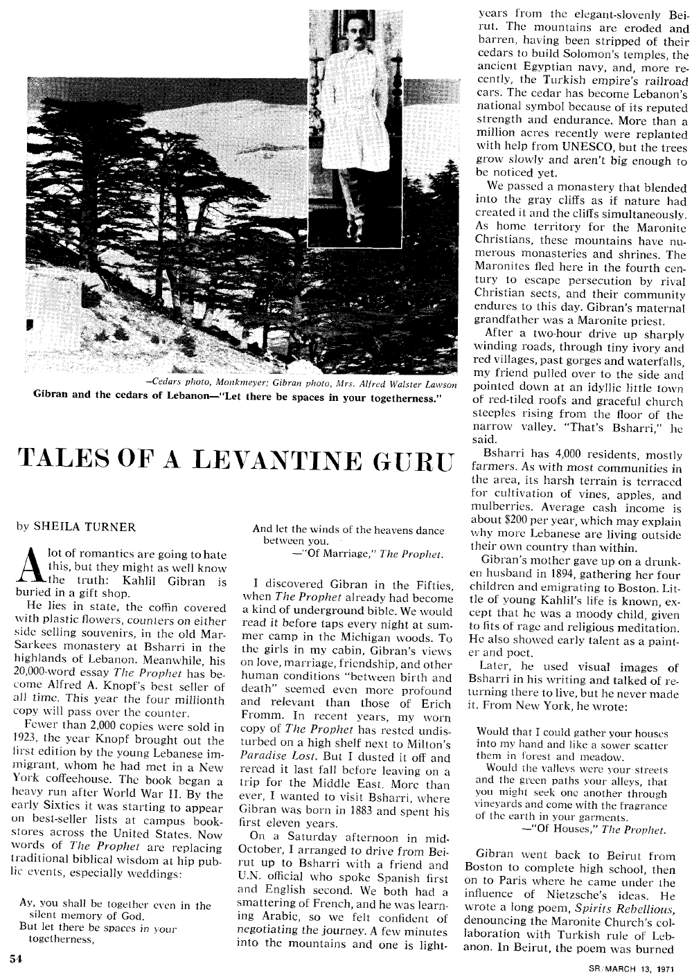 "Sheila Turner, ""Tales of a Levantine Guru"", Saturday Review, March 13, 1971, pp. 54–55."