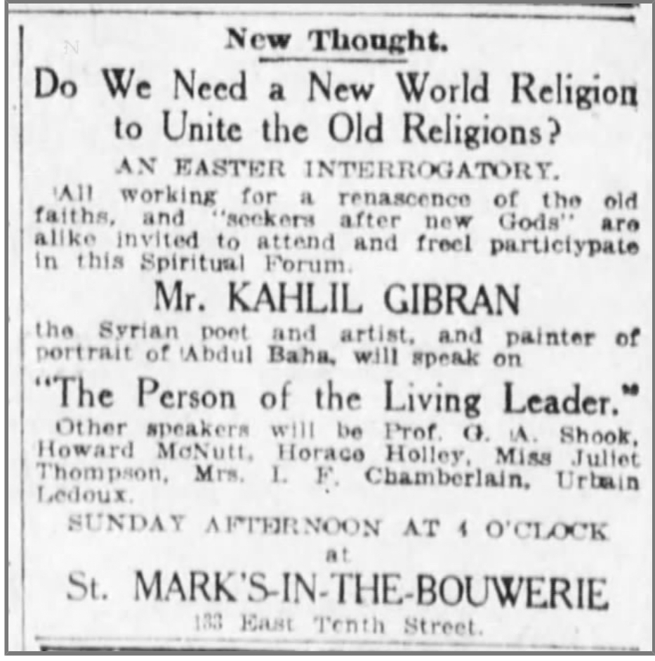 The Person of the Living Leader [Talk by Kahlil Gibran with Baha'is], The Brooklyn Daily Eagle (Brooklyn, New York), Sat, Mar 26, 1921, p. 7.