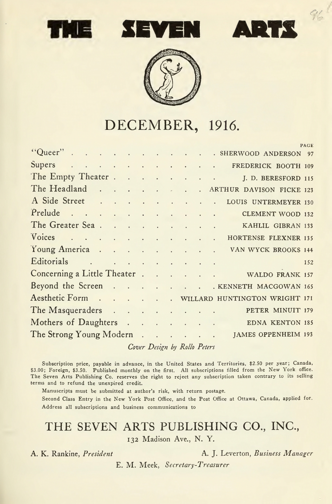 "The Greater Sea (From the Drama, ""The Madman""), The Seven Arts, December, 1916"