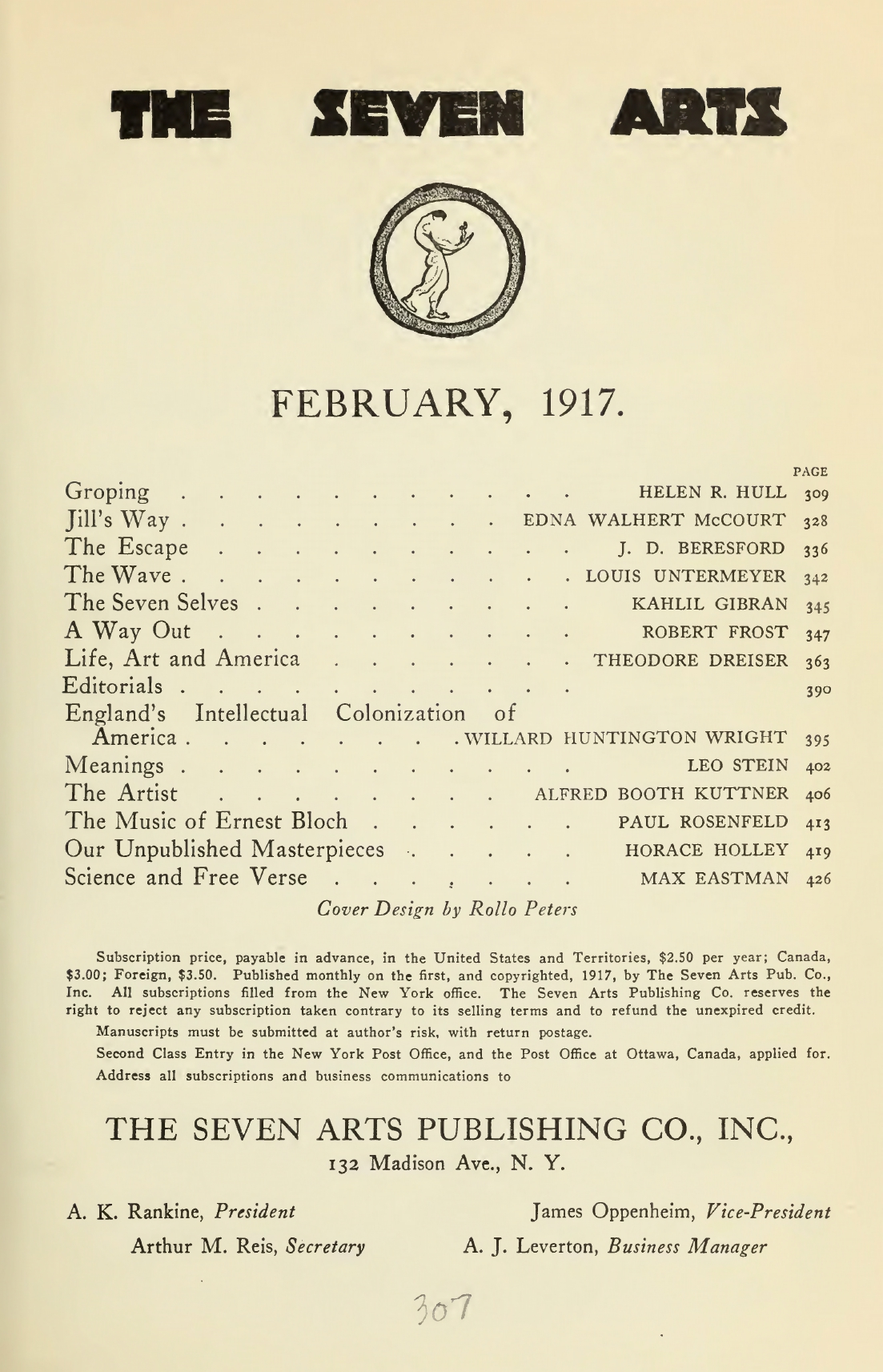 "The Seven Selves (From ""The Madman"" — a Drama), The Seven Arts, February, 1917"