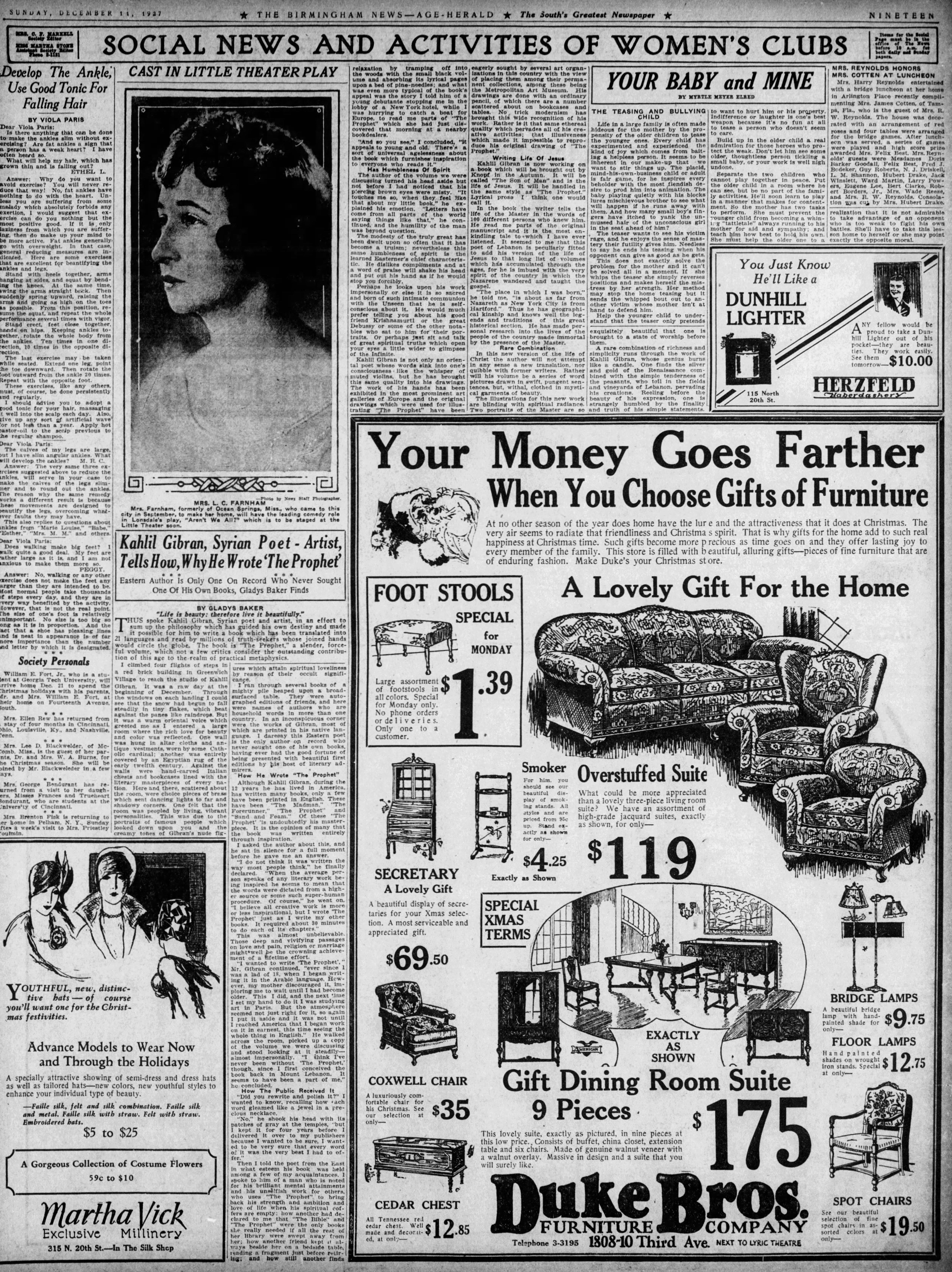 "Gladys Baker, ""Kahlil Gibran, Syrian Poet-Artist, Tells How, Why He Wrote 'The Prophet'"", The Birmingham News, Sunday, December 11, 1927, p. 19."