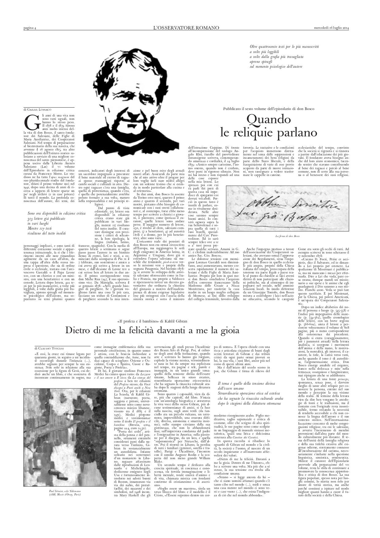 """Claudio Toscani, """"Il profeta e il bambino di Kahlil Gibran: 'Dietro di me la felicità davanti a me la gioia'"""", L'Osservatore Romano, Jul 16, 2014, p. 4 (review)"""