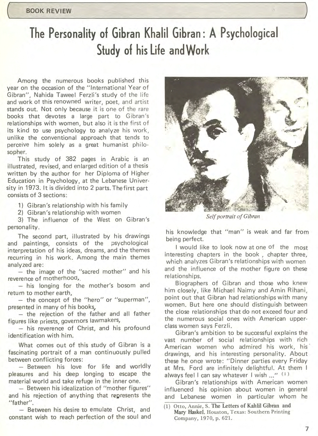 Wafa' Stephan, The Personality of Gibran Khalil Gibran: A Psychological Study of his Life and Work [book review], Al-Raida, November 1, 1983