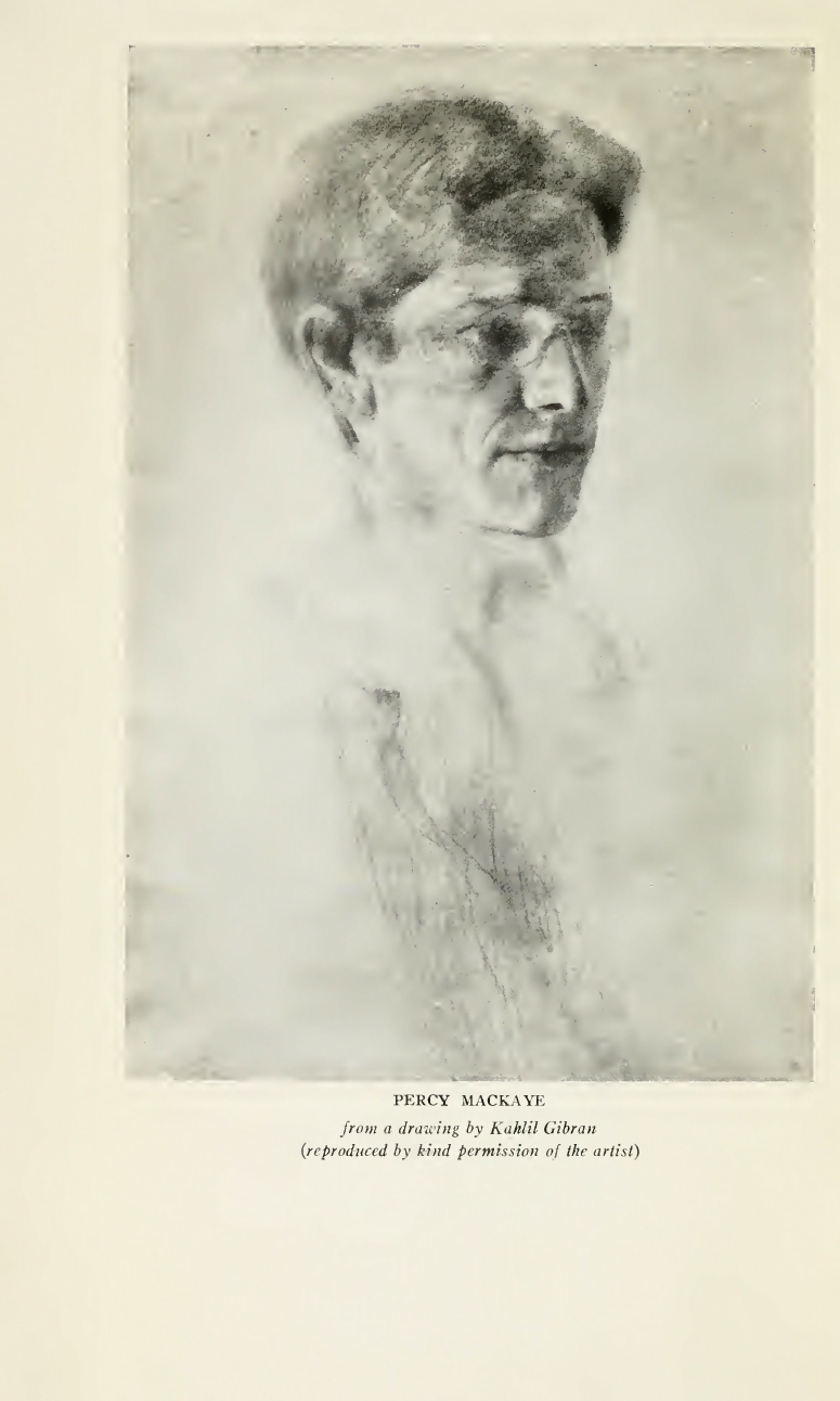 Percy MacKaye, Saint Louis: A Civic Masque, Frontispiece Portrait of Percy MacKaye by Kahlil Gibran, New York: Doubleday Press, 1920.
