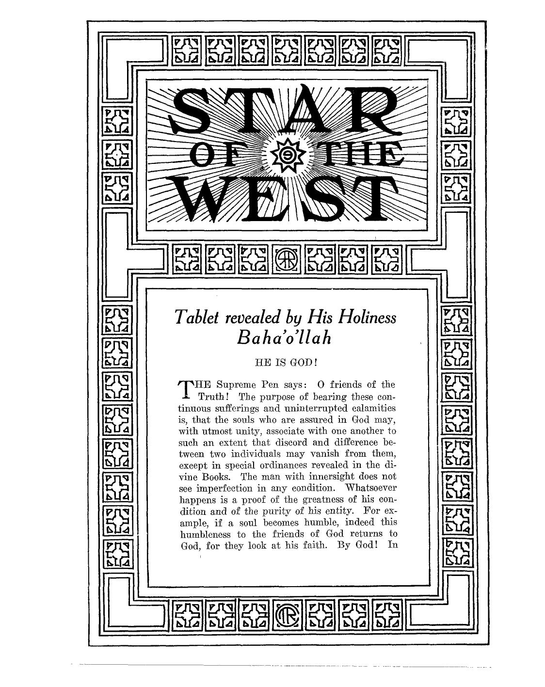 Star of the West, Vol. 10, No. 4, May 17, 1919, p. 60; Vol. 10, June 24, 1919, p. 110.